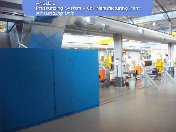 Pressurizing system air handling unit at coil manufacturing plant build by ACS Air Cleaning Systems, Johannesburg, Gauteng, South Africa